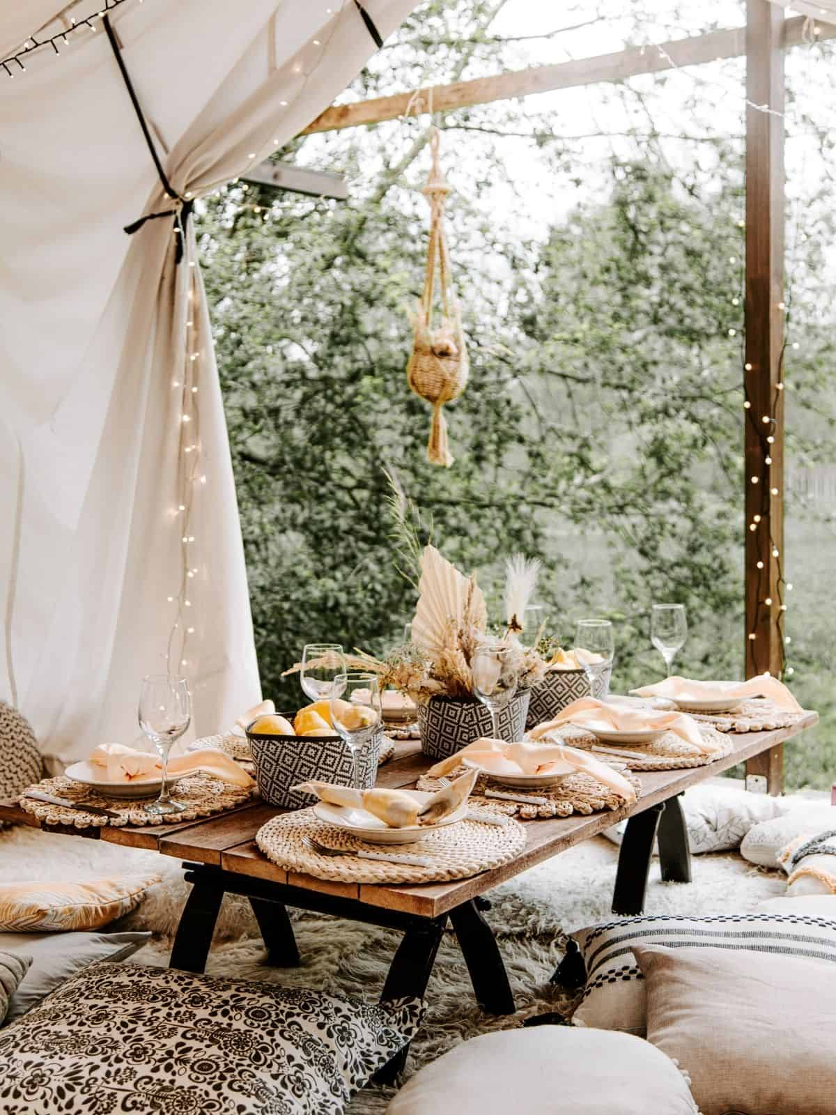 glamping tent with table for food