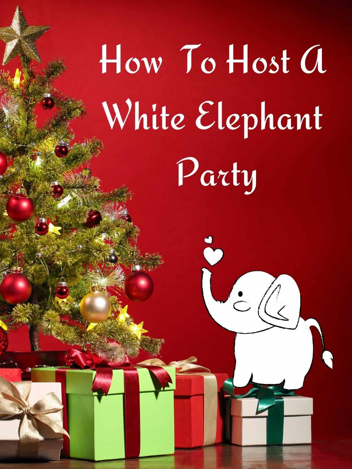 white elephant on presents by christmas tree