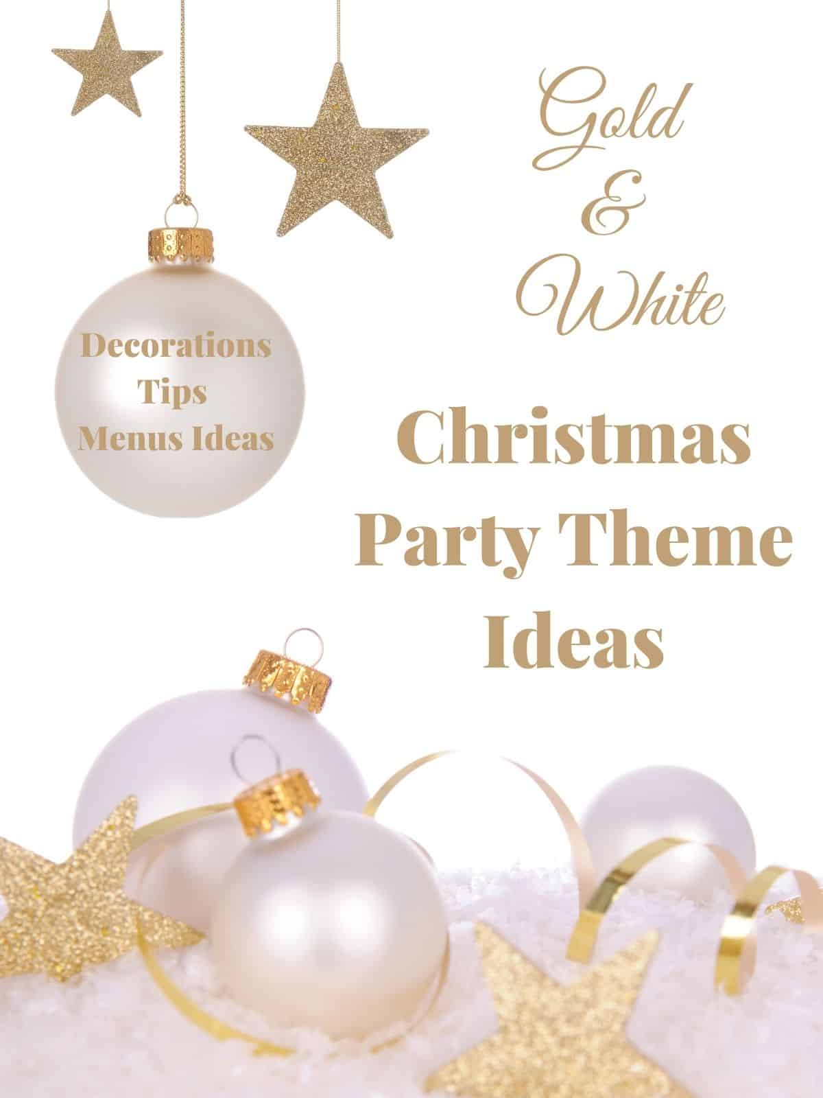 white and gold christmas balls and stars