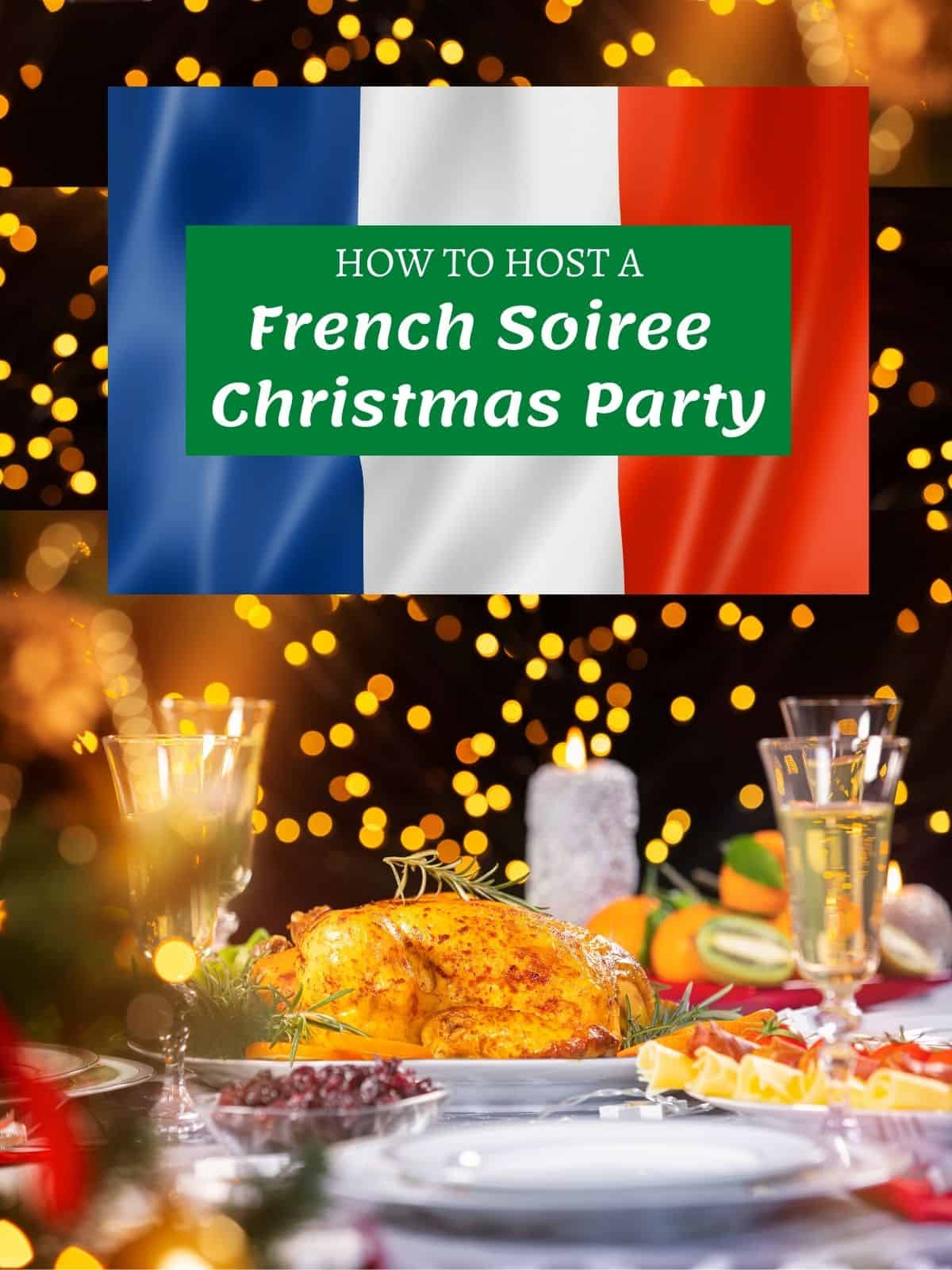 french christmas dinner goose with french flag under text