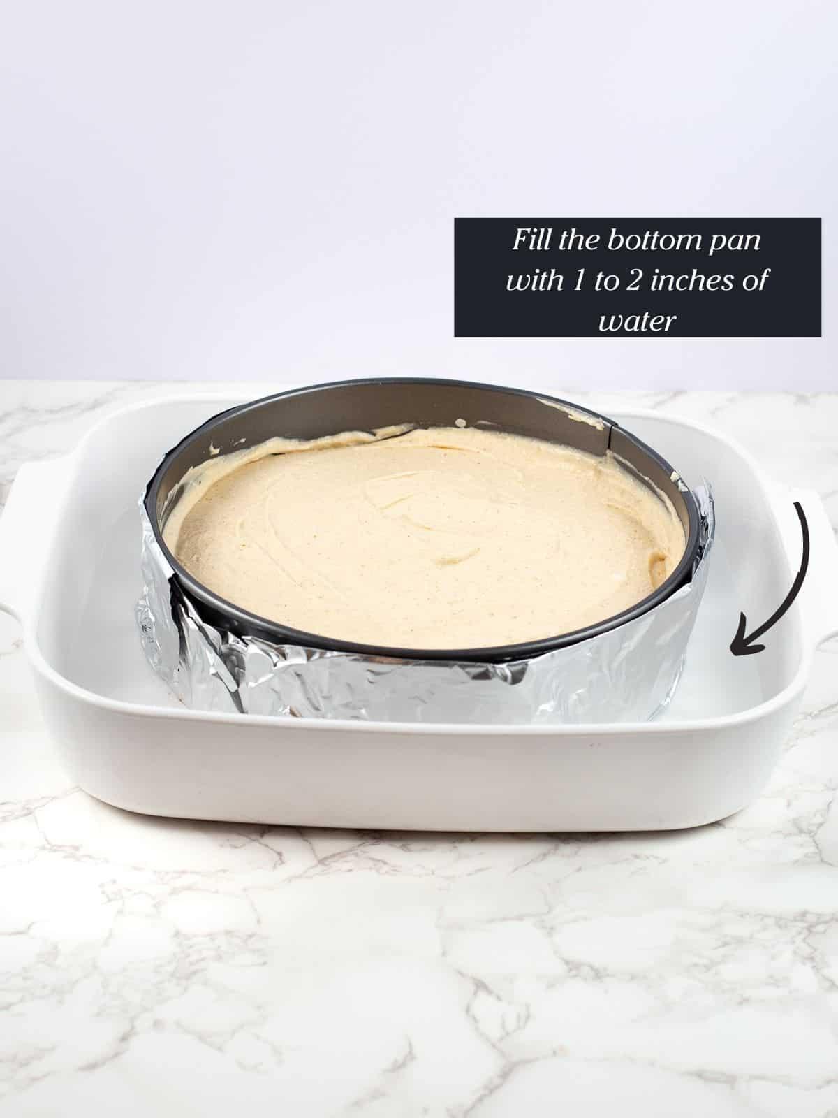 creamy pumpkin vegan cheesecake in pan before it is baked
