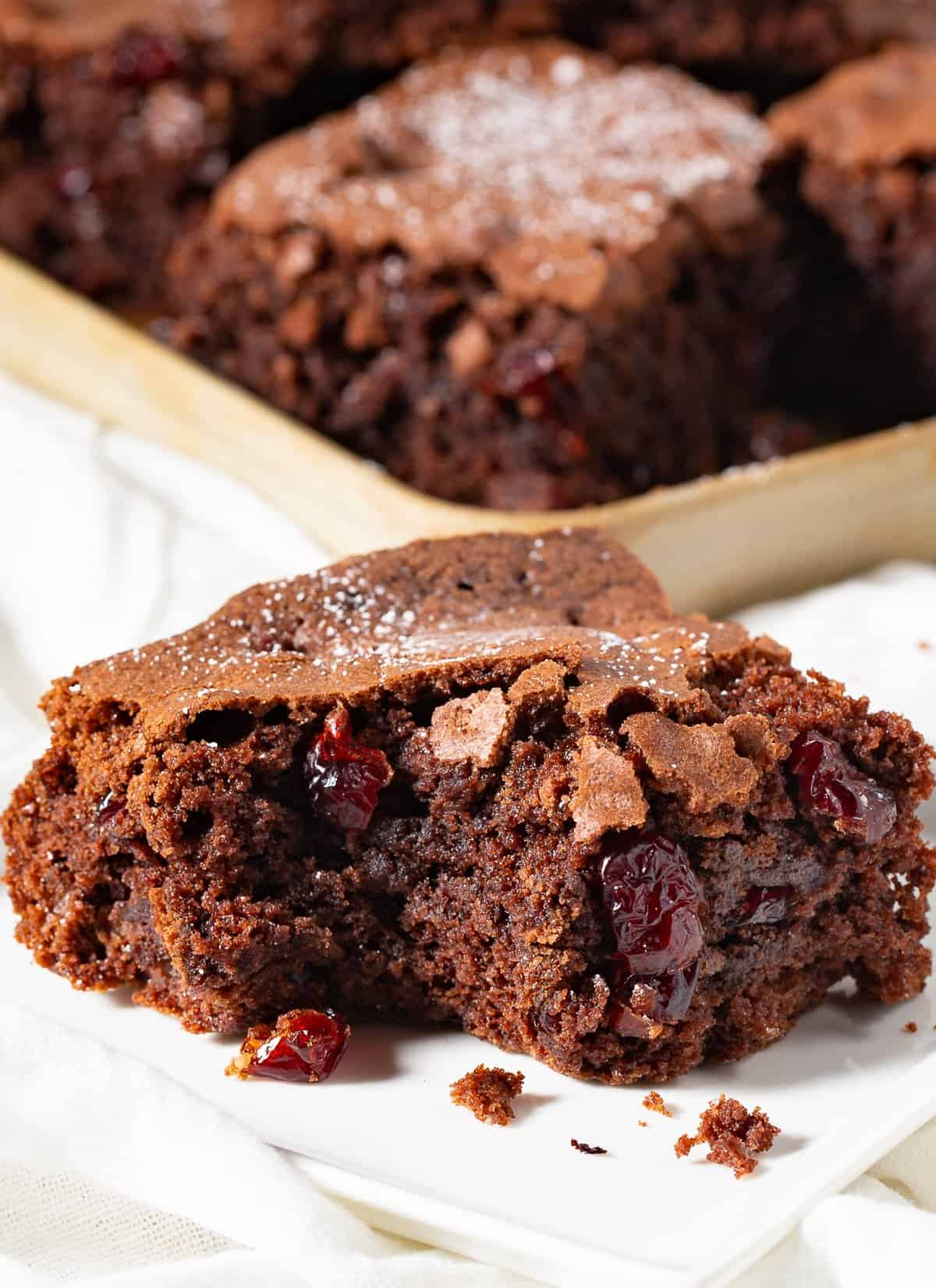 Thanksgiving Cranberry Chewy Brownies on white plate