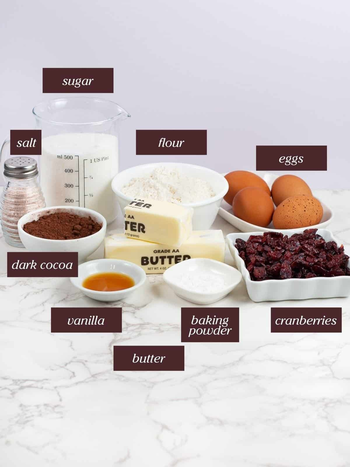 ingredients for chewy thanksgiving brownies